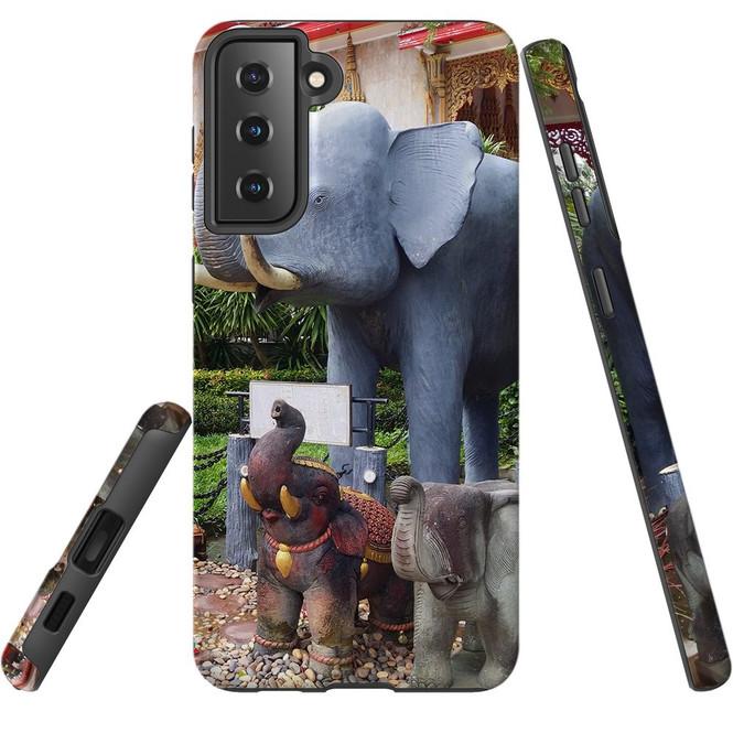 Samsung Galaxy S21 Ultra/S21+ Plus/S21  Case, Tough Protective Back Cover, Thai Elephant Statues   iCoverLover.com.au   Phone Cases