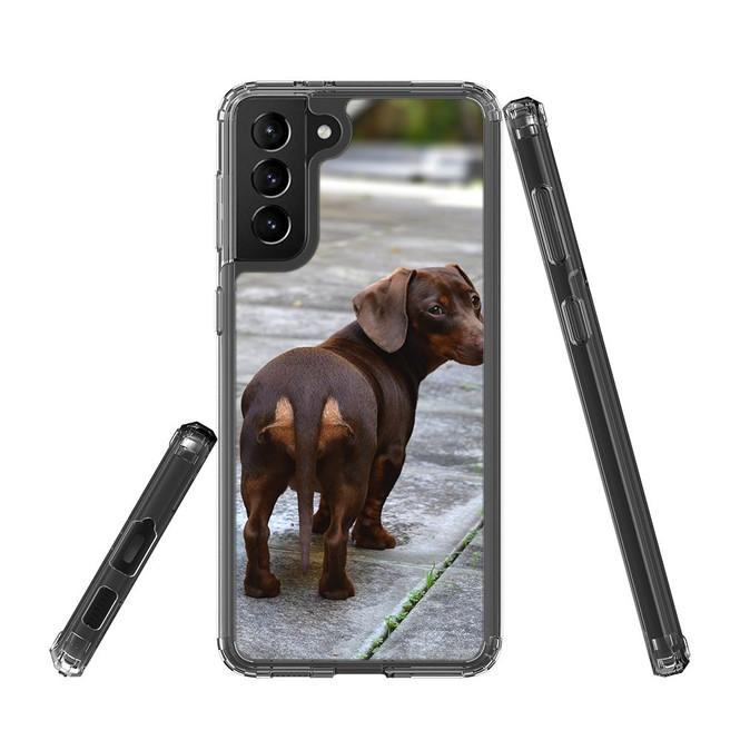 Samsung Galaxy S21 Ultra/S21+ Plus/S21 Protective Case, Clear Acrylic Back Cover, Tan Daschund Lookback | iCoverLover.com.au | Phone Cases