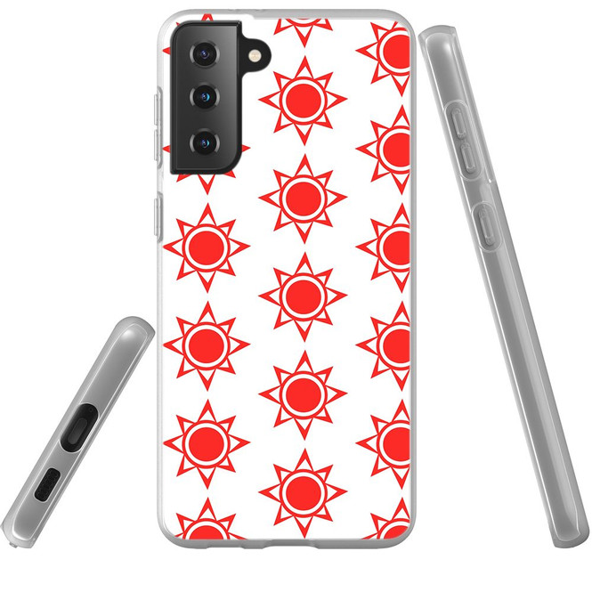 Samsung Galaxy S21 Ultra/S21+ Plus/S21 Flexi Case, Clear Protective Soft Back Cover, Red Suns   iCoverLover.com.au   Phone Cases