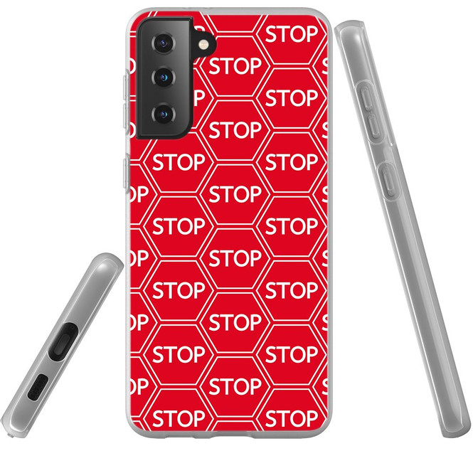 Samsung Galaxy S21 Ultra/S21+ Plus/S21 Flexi Case, Clear Protective Soft Back Cover, Stop Signs | iCoverLover.com.au | Phone Cases