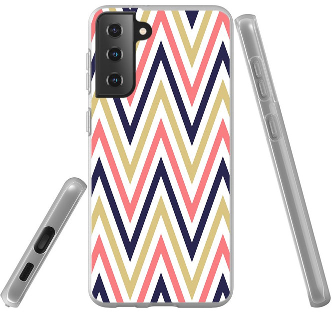 Samsung Galaxy S21 Ultra/S21+ Plus/S21 Flexi Case, Clear Protective Soft Back Cover, ZigZag Salmon Purple | iCoverLover.com.au | Phone Cases