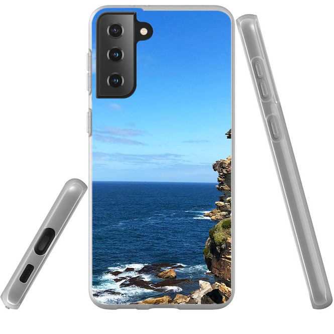 Samsung Galaxy S21 Ultra/S21+ Plus/S21 Flexi Case, Clear Protective Soft Back Cover, Ocean Cliffs | iCoverLover.com.au | Phone Cases