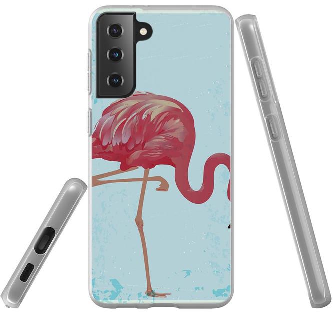 Samsung Galaxy S21 Ultra/S21+ Plus/S21 Flexi Case, Clear Protective Soft Back Cover, Vintage Flamingo   iCoverLover.com.au   Phone Cases