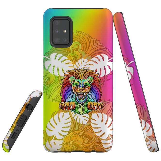 For Samsung Galaxy A51 5G/4G, A71 5G/4G, A90 5G Case, Tough Protective Back Cover, Colourful Lion | Protective Cases | iCoverLover.com.au