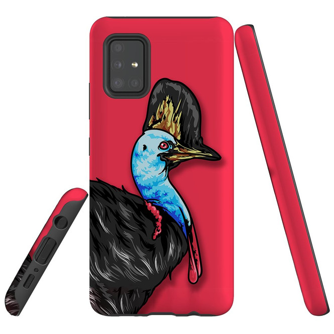 For Samsung Galaxy A51 5G/4G, A71 5G/4G, A90 5G Case, Tough Protective Back Cover, Cassowary Portrait   Protective Cases   iCoverLover.com.au