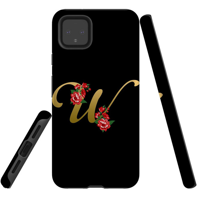 For Google Pixel 5/4a 5G,4a,4 XL,4/3XL,3 Case, Tough Protective Back Cover, Embellished Letter W   Protective Cases   iCoverLover.com.au