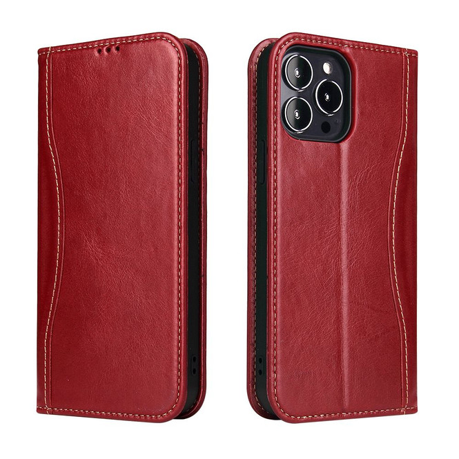 iPhone 13 Pro Max, 13, 13 Pro, 13 mini Case, Real Leather Wallet Cover, Red | iCoverLover Australia