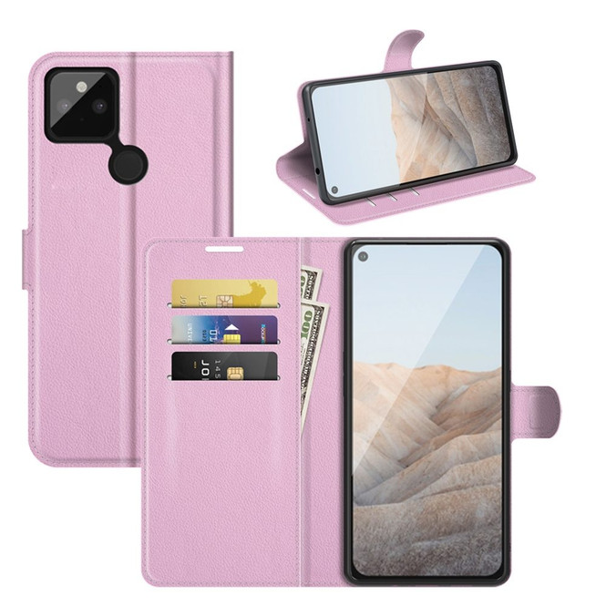 Case for Google Pixel 5a 5G or 4a, PU Leather Folio Protective Wallet Cover with Stand in Pink  iCoverLover Australia