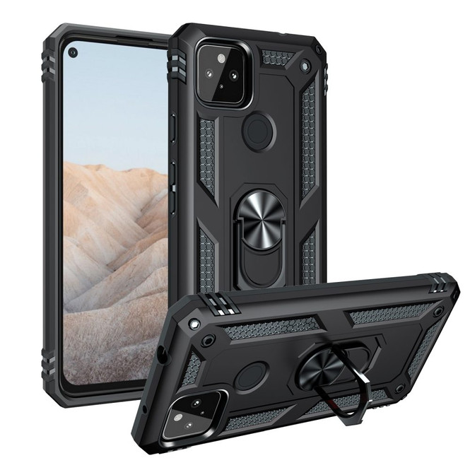 For Google Pixel 5a 5G Case Carbon Fiber Protective Cover, 360 Degree Rotating Ring Holder, Red | iCoverLover Australia