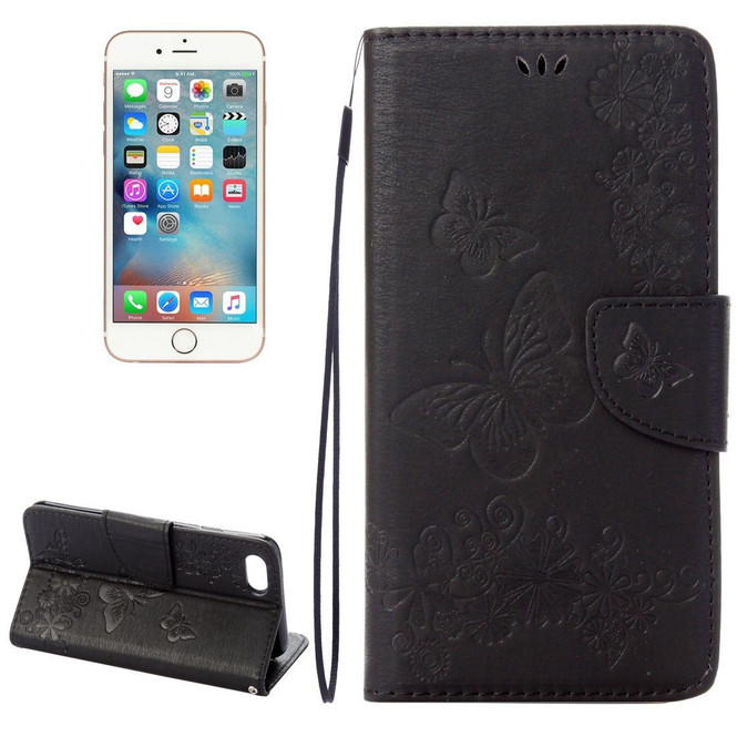 Black Butterflies Emboss Leather Wallet iPhone SE (2020) / 8 / 7 Case | iCoverLover