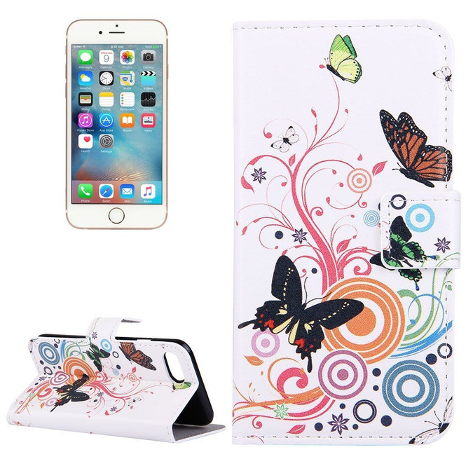 Colourful Butterflies Leather Wallet iPhone SE (2020) / 8 / 7 Case | iCoverLover