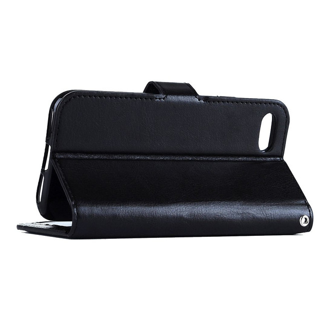 Black Elegant Horse Texture Leather Wallet iPhone 8 PLUS & 7 PLUS Case | iPhone 8 PLUS & 7 PLUS Case Leather Cases | iPhone 8 PLUS & 7 PLUS Case Leather Covers | iCoverLover