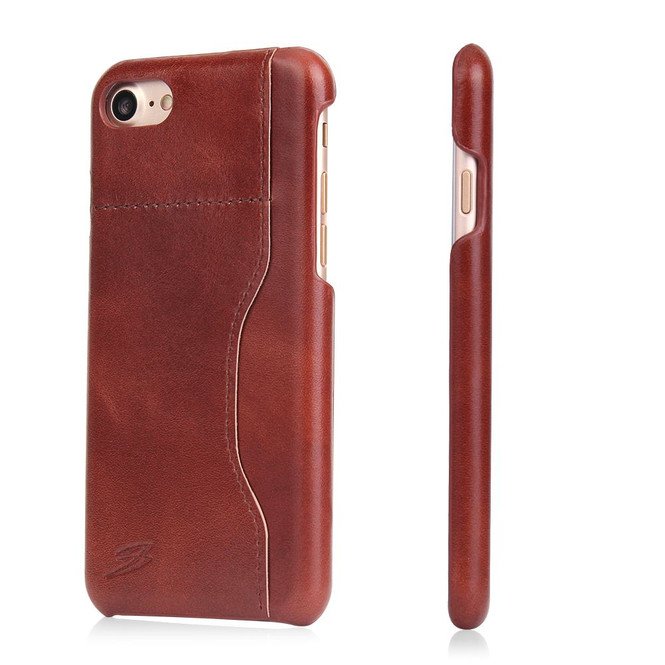 Dark Brown Waxed Cow Leather Wallet iPhone SE (2020) / 8 / 7 Case | iCoverLover