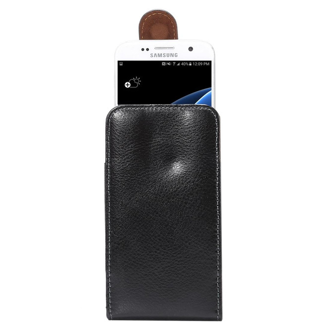 Black Upright Lychee Genuine Leather Waist Universal 5'2 Inch Bag   Universal Bag Genuine Leather Cases   Universal Bag Genuine Leather Covers   iCoverLover