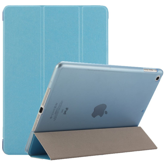 Blue Silk Textured 3-fold Leather iPad 2017 9.7-inch Case | Leather iPad 2017 Cases | iPad 2017 Covers | iCoverLover