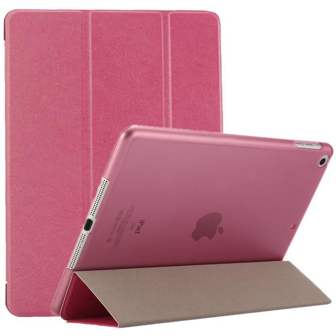 Magenta Silk Textured 3-fold Leather iPad 2017 9.7-inch Case | Leather iPad 2017 Cases | iPad 2017 Covers | iCoverLover