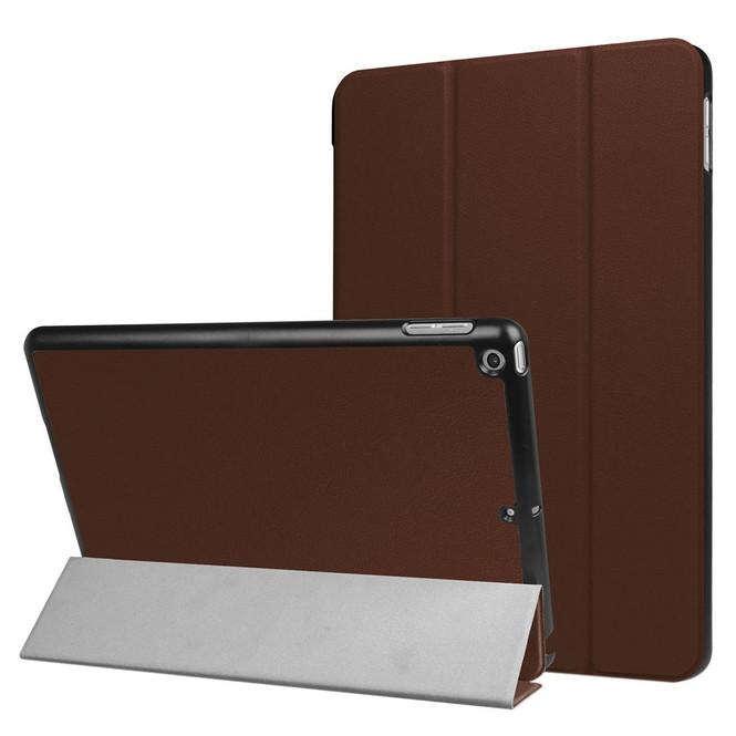 Coffee Karst Textured 3-fold Leather iPad 2017 9.7-inch Case | Leather iPad 2017 Cases | iPad 2017 Covers | iCoverLover
