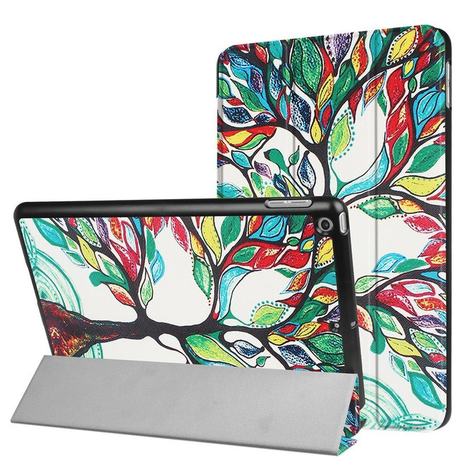 Colorful Tree 3-fold Leather iPad 2017 9.7-inch Case | Leather iPad 2017 Cases | iPad 2017 Covers | iCoverLover