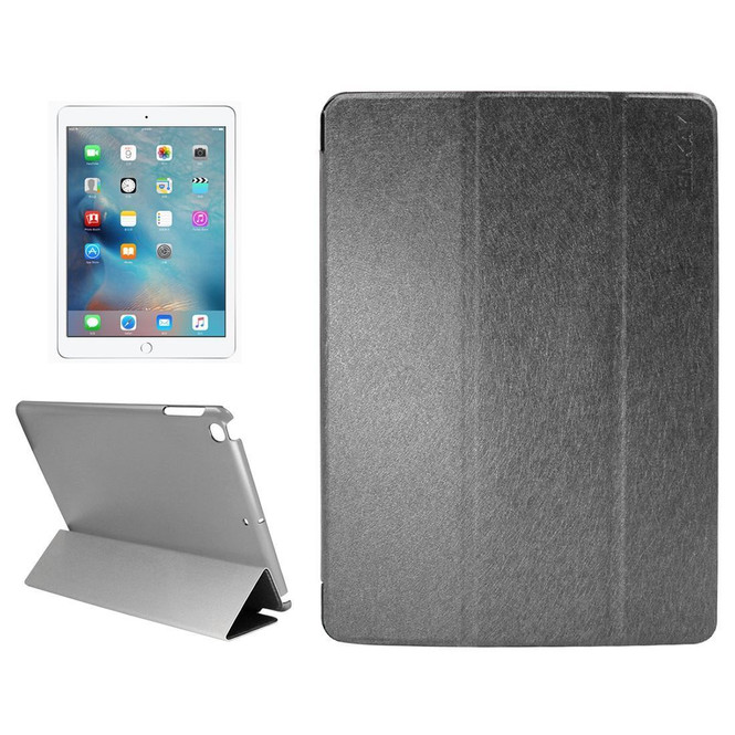 Black Silk Textured Smart Leather iPad 2017 9.7-inch Case | Leather iPad 2017 Cases | iPad 2017 Covers | iCoverLover
