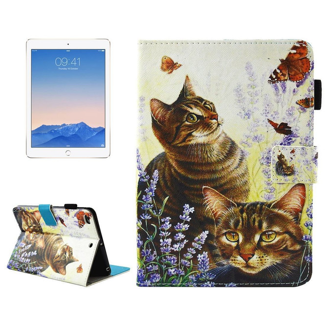 Cats and Butterflies Smart Leather iPad 2017 9.7-inch Wallet Cover | Leather iPad 2017 Cases | iPad 2017 Covers | iCoverLover