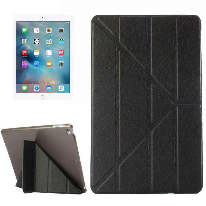 Black Silk Textured 3-folding Leather iPad 2017 9.7-inch Case   Leather iPad 2017 Cases   iPad 2017 Covers   iCoverLover