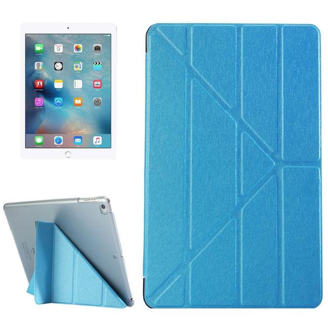 Blue Silk Textured 3-folding Leather iPad 2017 9.7-inch Case | Leather iPad 2017 Cases | iPad 2017 Covers | iCoverLover