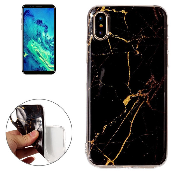 Black Marble iPhone XS & X Back Case | Protective iPhone XS & X Covers | Protective iPhone XS & X Cases | iCoverLover