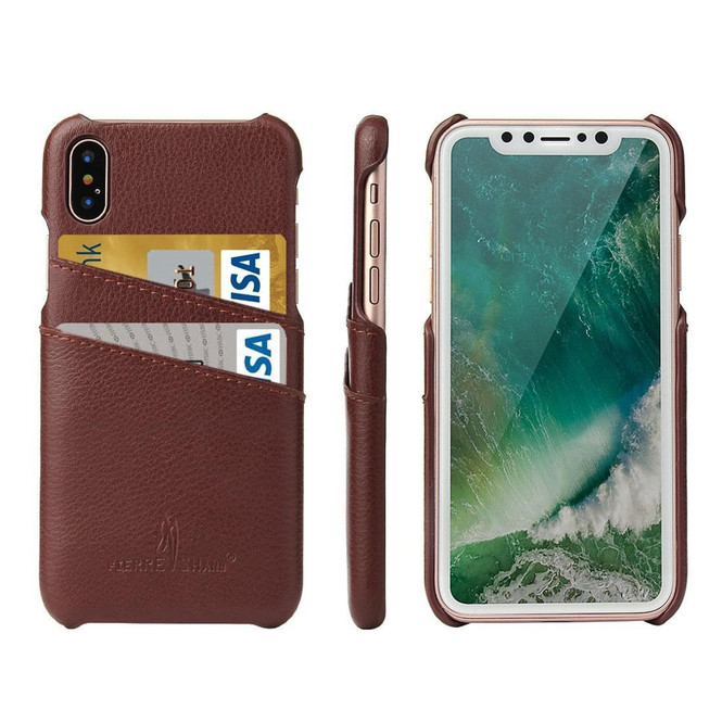 iPhone XS & X Case Brown Handmade Genuine Leather Fashion Back Shell with 2 Card Slots, Shockproof, and Scratch-proof   Genuine Leather iPhone XS & X Cases   Genuine Leather iPhone XS & X Covers   iCoverLover