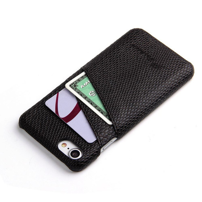 Black Deluxe Snake Pattern Leather iPhone SE (2020) / 8 / 7 Case | iCoverLover