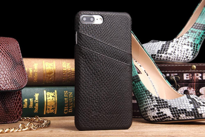 Black Deluxe Snake Pattern Leather iPhone 8 PLUS & 7 PLUS Case  | Leather iPhone 8 PLUS & 7 PLUS Covers | Leather iPhone 8 PLUS & 7 PLUS Cases | iCoverLover
