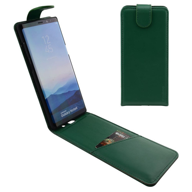 Samsung Galaxy Note 8 Case Green Vertical Flip Genuine Leather Cover with Magnetic Flap Closure, 1 Cash Compartment, Scratch-resistant, and Drop-proof   Genuine Leather Samsung Galaxy Note 8 Cases   Genuine Leather Samsung Galaxy Note 8 Covers