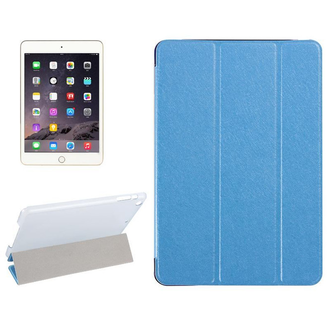 Blue Silk Textured 3-fold Leather Folio iPad Mini 4 Case | Leather Apple iPad Mini Covers | Leather iPad Mini Cases | iCoverLover