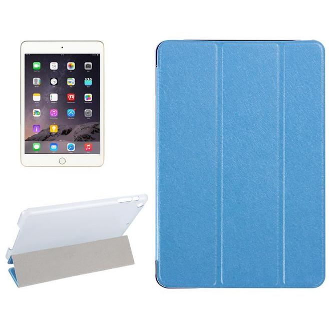 Blue Silk Textured 3-fold Leather Folio iPad Mini 4 Case | Leather Apple iPad Mini Covers | Leather iPad Mini Cases | iCoverLover