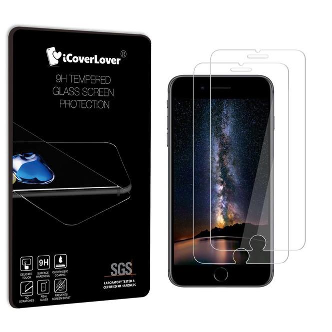 iCoverLover  [2-Pack] iPhone 8 PLUS & 7 PLUS Tempered Glass Screen Protector | Protective iPhone 8 PLUS & 7 PLUS Screen Protectors | Strong iPhone 8 PLUS & 7 PLUS Glass Screen Protector | iCoverLover