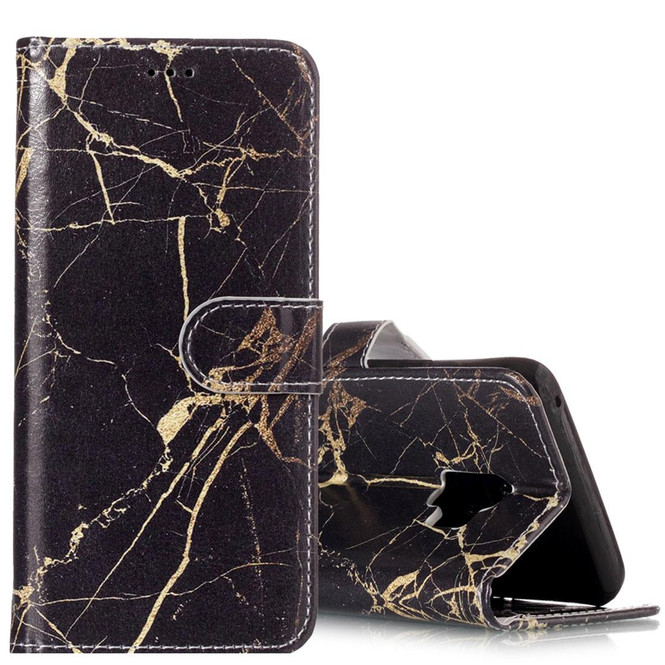 Black Gold Marble Pattern Leather Wallet Samsung Galaxy S9 Case | Leather Samsung Galaxy S9 Plus Cases | Folio Samsung Galaxy S9 Plus Covers | iCoverLover