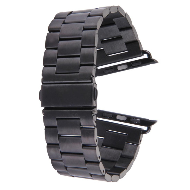 Black Apple Watch 1,2,3,4 (44mm,42mm) Butterfly Stainless Steel Watch Strap   Stainless Steel Apple Watch Bands   iCoverLover