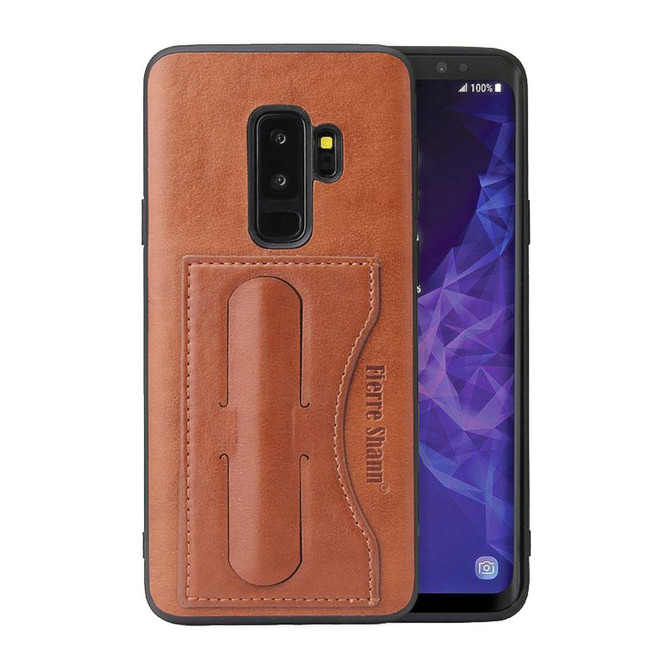 Samsung Galaxy S9 Case Brown Fierre Shann Luxury PU Leather Back Case with Built-in Kickstand and 1 Exterior Card Slot   Leather Samsung Galaxy S9 Cases   Leather Samsung Galaxy S9 Covers   iCoverLover