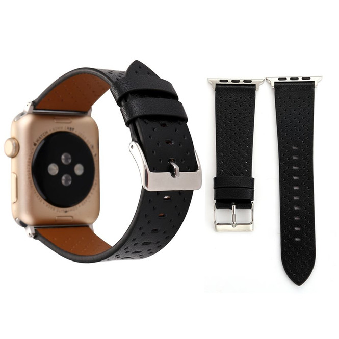 Black Perforated Genuine Leather Wristwatch Strap 44mm,42mm for Apple Watch Series 1,2,3 and 4   Genuine Leather Apple Watch Bands   iCoverLover