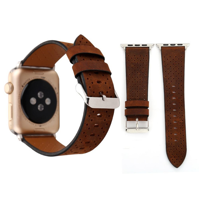 Coffee Perforated Genuine Leather Wristwatch Strap 40mm,38mm for Apple Watch Series 1,2,3 and 4 | Genuine Leather Apple Watch Bands | iCoverLover
