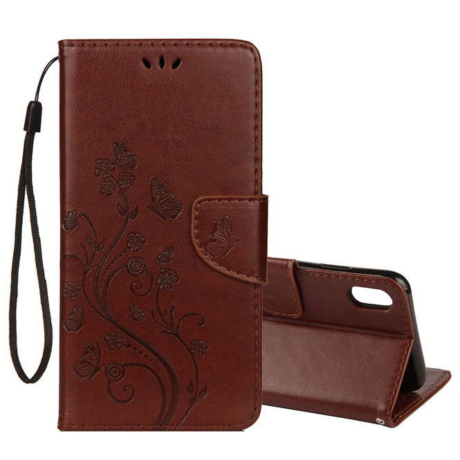 iPhone XS Max Brown Embossed Butterfly Pattern Horizontal Flip Leather Cover with Card Slots and Lanyard | Protective Apple iPhone XS Max Covers | Protective Apple iPhone XS Max Cases | iCoverLover