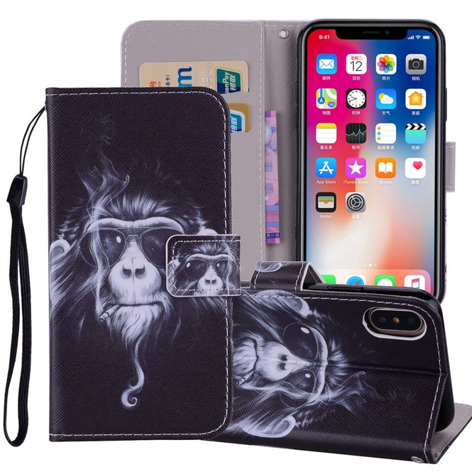 Chimpanzee Pattern Wallet iPhone XS MAX Case | Leather Apple iPhone XS MAX Cases | Leather Apple iPhone XS MAX Covers | iCoverLover