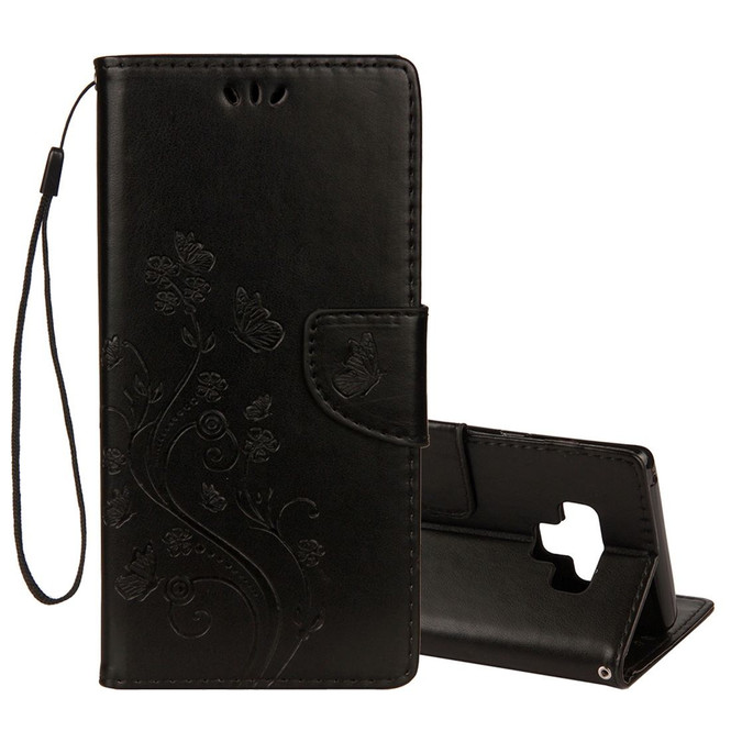 Galaxy Note 9 Case Black Embossed Butterfly Pattern Horizontal Flip Leather Cover with Card Slots and Lanyard   Leather Samsung Galaxy Note 9 Covers   Leather Samsung Galaxy Note 9 Cases   iCoverLover
