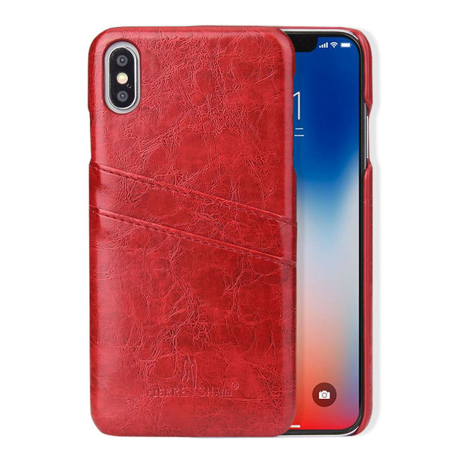 iPhone XS MAX Case Red Deluxe PU Leather Back Shell with 2 Card Slots, Ultra Slim Build & Impact-Resistant   Leather iPhone XS MAX Covers   Leather iPhone XS MAX Cases   iCoverLover