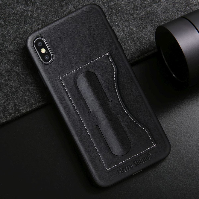 iPhone XS MAX Case Black Luxury Leather Back Shell Cover | Leather iPhone XS MAX Covers | Leather iPhone XS MAX Cases | iCoverLover