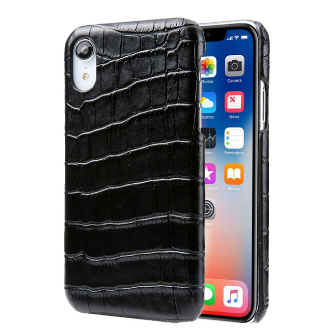 iPhone XR Case Black Genuine Crocodile Leather Back Shell Cover | iPhone XR Genuine Leather Covers | iPhone XR Leather Cases | iCoverLover