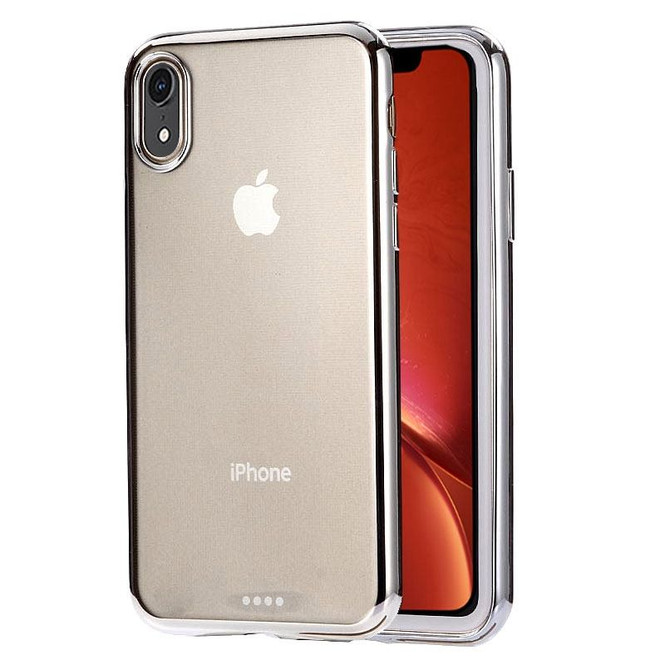iPhone XR Case Silver Ultra-thin Electroplating Transparent TPU Protective Back Cover | Protective Apple iPhone XR Covers | Protective Apple iPhone XR Cases | iCoverLover