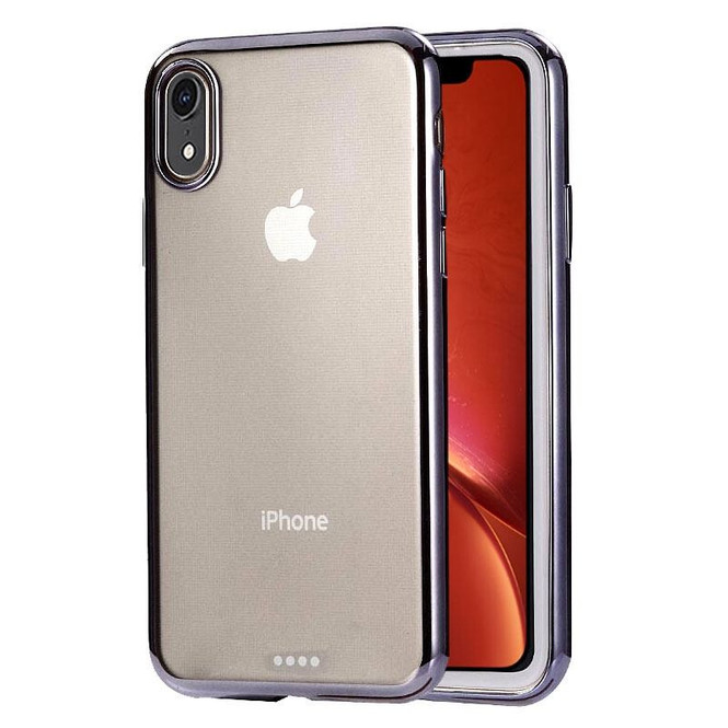 iPhone XR Case Black Ultra-thin Electroplating Clear TPU Protective Back Cover   Protective Apple iPhone XR Covers   Protective Apple iPhone XR Cases   iCoverLover