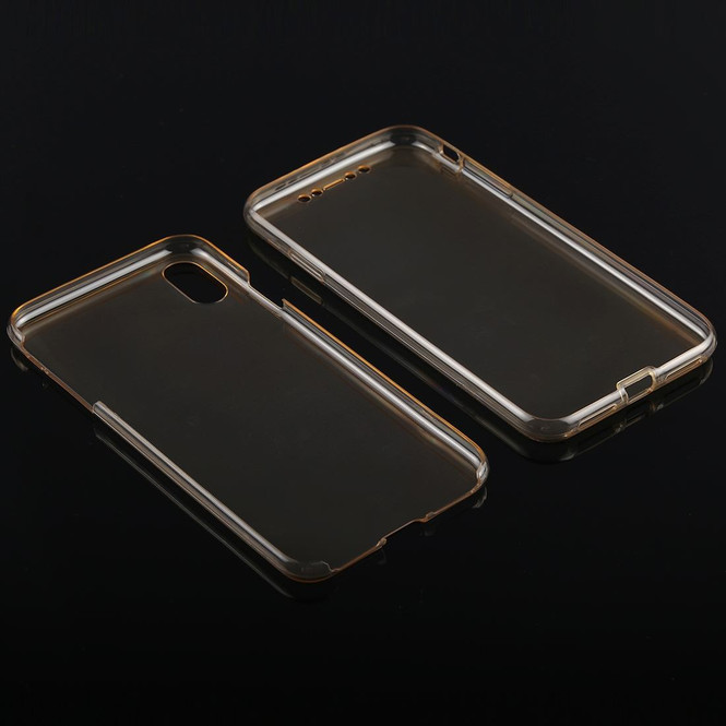 iPhone XS Max Case Gold Ultra-thin Double-sided Full Coverage Transparent TPU Cover | Protective Apple iPhone XS Max Covers | Protective Apple iPhone XS Max Cases | iCoverLover