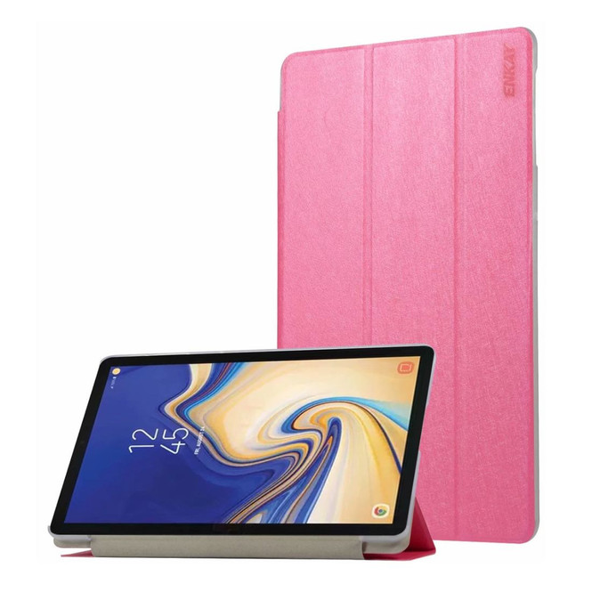 Samsung Galaxy Tab S4 Case 10.5 Rose Red Silk Texture PU Leather Folio Case with Three-folding Holders and Sleep/Wake Function | Leather Samsung Galaxy Tab S4 Covers | Leather Samsung Galaxy Tab S4 Cases | iCoverLover