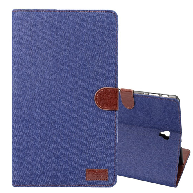 Samsung Galaxy Tab S4 10.5/T830 Case Dark Blue Denim Texture PU Leather Folio Cover with 5 Card Slots, Display Window & Built-in Kickstand   Leather Samsung Galaxy Tab S4 Covers   Leather Samsung Galaxy Tab S4 Cases   iCoverLover